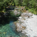 Swimming hole and beach just past Sawmill Falls.- Opal Creek Hiking Trail