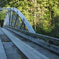 Bridge over the North Fork of the Santiam River near Shady Cove Campground.- Shady Cove + Cedar Creek Campground