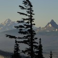 View south, from left to right: North Sister (10,085'), Middle Sister (10,047') and Mount Washington (7,795').- Three Fingered Jack