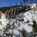 Tumalo Falls from a lower viewpoint.- Tumalo Falls Ski + Snowshoe Trail