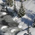 Tumalo Creek from a lower viewpoint.- Tumalo Falls Ski + Snowshoe Trail