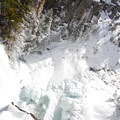 Tumalo Falls from an upper viewpoint.- Tumalo Falls Ski + Snowshoe Trail