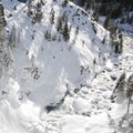 Tumalo Falls from an upper viewpoint.- Tumalo Falls Ski + Snowshoe Trail