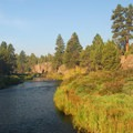 View looking southwest over the Deschtues River.- Tumalo State Park Campground