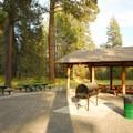 Picnic shelter near the park's entrance.- Shevlin Park