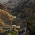 Looking east down the White River canyon toward the confluence with the Deschutes River.- White River Falls State Park