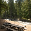 Campsite along Hood River.- Sherwood Campground