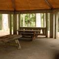 The Organization Camp's picnic pavilion.- Lost Lake Organization Camp