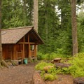 The Organization Camp's rustic cabin.- Lost Lake Organization Camp