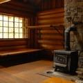 The Organization Camp's rustic cabin interior.- Lost Lake Organization Camp