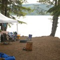 Campsite along the lakeshore.- Timothy Lake, Hoodview Campground