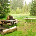 One of the campground's better sites.- Little Crater Lake Campground