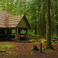Old picnic and fire pavilion.- Tollgate Campground