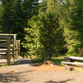 Typical campsite with horse stalls.- Clackamas Lake Campground