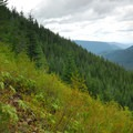 View on the trail looking east down the Sandy River valley.- Mirror Lake + Tom Dick and Harry Mountain