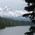 View of Mount Hood (11,250') and Lost Lake from the day-use area.- Lost Lake Campground at Lost Lake Resort