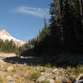 View of Mount Hood from Newton Creek crossing.- Elk Meadows