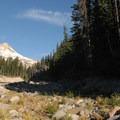 View of Mount Hood from Newton Creek crossing.- Elk Meadows