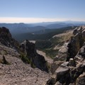 View of Newton Creek Canyon and Mount Jefferson (10,495 ft), from Gnarl Ridge looking south.- Gnarl Ridge Hike