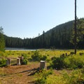 View of Frog Lake from the campground.- Frog Lake Campground