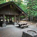 Picnic shelter at the Trillium Lake day-use area.- Trillium Lake Campground
