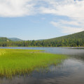 View of Trillium Lake from the lake's southwestern shore.- Trillium Lake Campground