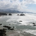 Cannon Beach viewed from Ecola State Park day-use and picnic area.- Cannon Beach