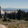 View looking south at Timberline Lodge and Mount Jefferson (10,495').- Timberline Lodge