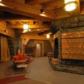 Timberline Lodge's central hearth and reception area.- Timberline Lodge