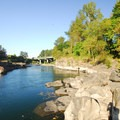View of the Clackamas River looking east toward I-205 and High Rocks.- High Rocks, Cross Park