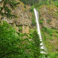 View of Multnomah Falls.- Wahkeena Falls/Multnomah Falls Loop Hike