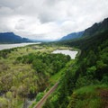 View looking east into the Columbia River Gorge.- Horsetail, Ponytail + Triple Falls Hike