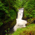 Oneonta Bridge Falls, otherwise known as Middle Falls.- Horsetail, Ponytail + Triple Falls Hike