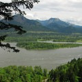 View across the Columbia River toward Hamilton and Table Mountains.- Elowah Falls HIke