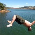Tim Agnew takes the plunge into Rowland Lake.- Rowland Lake