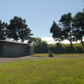 Restroom facilities and parking area.- Agate Beach State Recreation Site