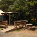 One of the many yurts at South Beach State Park Campground.- South Beach State Park