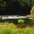 Big Eddy rapids along the Clackamas River.- Big Eddy Picnic Area