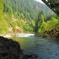 View of Clackamas River from under Carter Bridge.- Carter Bridge Campground