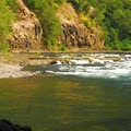 View of the Clackamas River from Carter Bridge.- Lockaby Campground