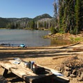 Lakeshore campsite near the boat ramp.- Sparks Lake