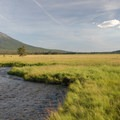 Mount Bachelor (9,068 ft) and Fall Creek from the northern meadow of Sparks Lake.- Sparks Lake
