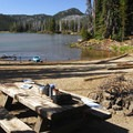 One of three shoreline campsites accessible by vehicle.- Sparks Lake Shoreline Campsites