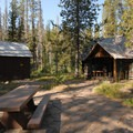 Old Elk Lake Guard Station, now a visitor center and picnic area.- Elk Lake