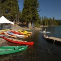 Elk Lake Resort boat ramp and rental area.- Elk Lake