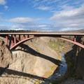 View looking east toward Rex T. Barber bridge (Highway 97) built in 1999.- Peter Skene Ogden State Scenic Viewpoint