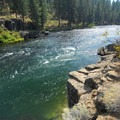 16' high cliff jumping spot off of the Deschutes River Trail.- Meadow Camp Day Use Area