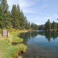 Swimming hole along Deschutes River near the parking area.- Meadow Camp Day Use Area