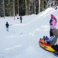 Measuring wits and wisdom. The clearing is generous enough for some safe run-outs.- Trillium Lake Sledding