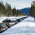 There are crowds, but skiers come and go frequently.- Teacup Lake Sno-Park